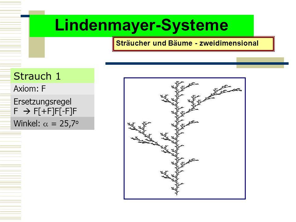 Lindenmayer-Systeme Strauch 1 Axiom: F Ersetzungsregel F  F[+F]F[-F]F